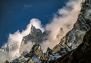 Unknown peak in clearing mist, Hunza, Pakistan.
