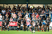 Bradford Bulls players watch as Oldham player Luke Hooley converts a try during the Kingstone Press Championship match between Oldham RLFC and Bradford Bulls at Bower Fold, Oldham, United Kingdom on 13 August 2017. Photo by Simon Davies.