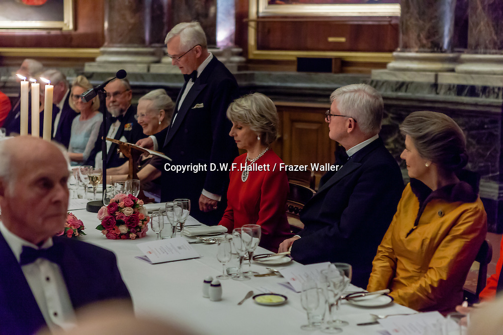 Her Majesty, Queen Margrethe II of Denmark / Their Royal Highnesses, the Duke and Duchess of Gloucester. Royal Banquet 3rd dec 2014 for the 90th Anniversary ,The ANGLO-DANISH SOCIETY.