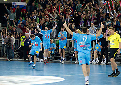 Uros Zorman, Matej Gaber, Nenad Bilbija of Slovenia celebrate after winning the handball match between National teams of Slovenia and Poland of Qualification Group 3 for Men's EURO 2012, on March 9, 2011 in Arena Stozice, Ljubljana, Slovenia. Slovenia defeated Poland 30-28. (Photo By Vid Ponikvar / Sportida.com)