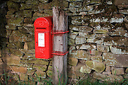 Red Victorian rural post box o mounted at dry stone wall in Vale of Edale, Peak District National Park, Derbyshire.