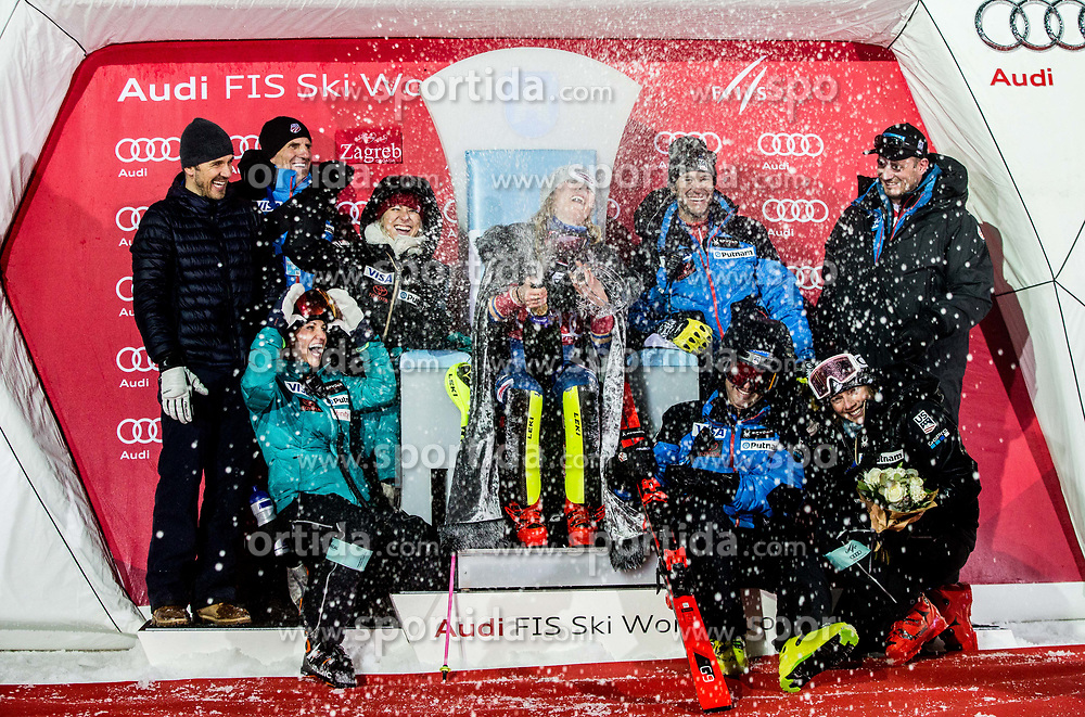"""Winner and Snow Queen 2018 Mikaela Shiffrin (USA) with her US team opening a champagne at Trophy ceremony after 2nd Run of FIS Alpine Ski World Cup 2017/18 Ladies' Slalom race named """"Snow Queen Trophy 2018"""", on January 3, 2018 in Course Crveni Spust at Sljeme hill, Zagreb, Croatia. Photo by Vid Ponikvar / Sportida"""