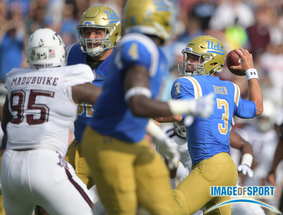 Sep 3, 2017; Pasadena, CA, USA; UCLA Bruins quarterback Josh Rosen (3) throws a pass against the Texas A&M Aggies during a NCAA football game at Rose Bowl.