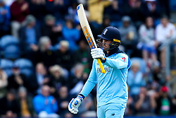 Jason Roy of England celebrates reaching 50 - Mandatory by-line: Robbie Stephenson/JMP - 08/06/2019 - CRICKET - Cardiff Wales Stadium - Cardiff , England - England v Bangladesh - ICC Cricket World Cup 2019 Group Stage
