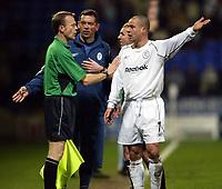 Photo. Aidan Ellis.<br />Bolton Wanderers v Aston Villa.<br />Carling Cup Semi Final 1st Leg.<br />21/01/2004<br />Bolton's Stellios Giannakopoulos complains about Villa's offside second goal