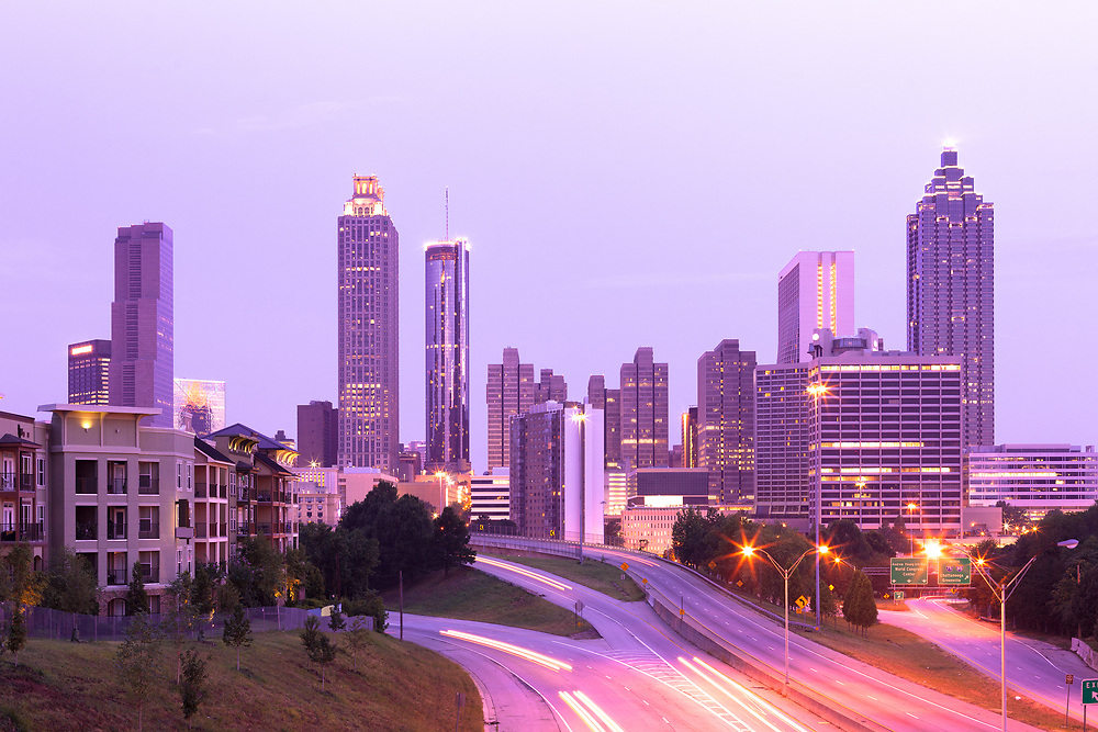 Downtown skyline at dawn, Atlanta, Georgia, USA