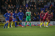 AFC Wimbledon goalkeeper Joe Day (21) saving the ball during the EFL Sky Bet League 1 match between AFC Wimbledon and Ipswich Town at the Cherry Red Records Stadium, Kingston, England on 11 February 2020.