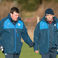 St Johnstone Training….27.12.16<br />Manager Tommy Wright pictured in training this morning at McDiarmid Park with Callum Davidson ahead of tomorrow's game against Rangers<br />Picture by Graeme Hart.<br />Copyright Perthshire Picture Agency<br />Tel: 01738 623350  Mobile: 07990 594431