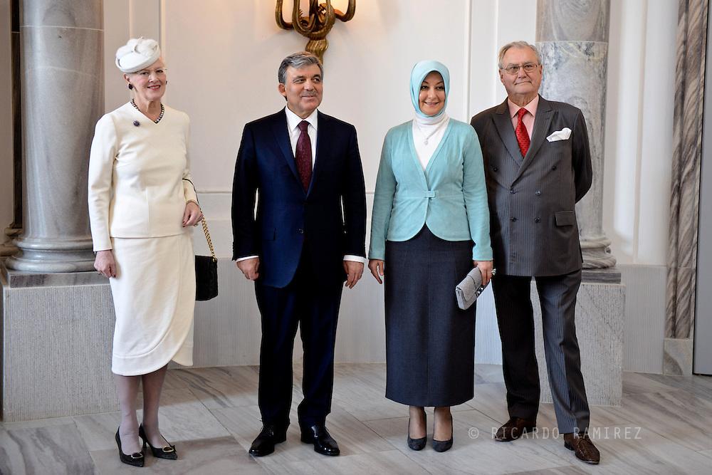 17.03.2014. Copenhagen, Denmark.HM the Queen Margrethe II, President of Turkey H.E. President Gül,Mrs. Hayrünnisa Gül and HRH the Prince Consort Henrik at the Amalienborg Palace.Photo:© Ricardo Ramirez