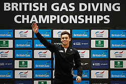 Tom Daley of Dive London Aquatic Centre celebrates on the podium after winning the Mens 10m Platform Final - Photo mandatory by-line: Rogan Thomson/JMP - 07966 386802 - 22/02/2015 - SPORT - DIVING - Plymouth Life Centre, England - Day 3 - British Gas Diving Championships 2015.