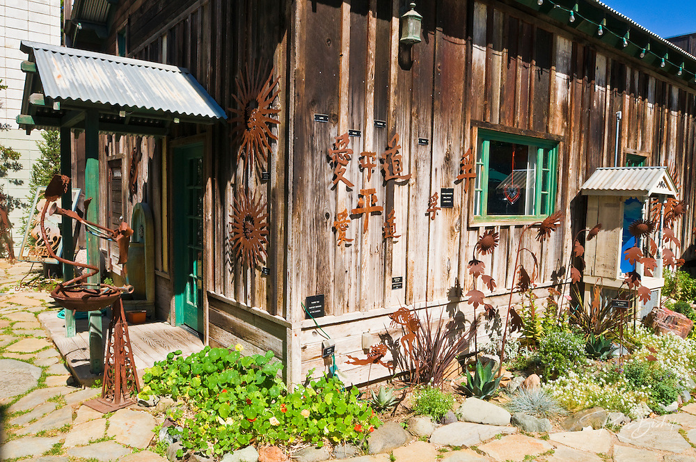 Metal sculptures at Burton Forge, Cambria, California