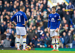 LONDON, ENGLAND - Sunday, March 5, 2017: Everton's Ross Barkley and Kevin Mirallas look dejected as Tottenham Hotspur score the third goal during the FA Premier League match at White Hart Lane. (Pic by David Rawcliffe/Propaganda)