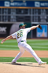 OAKLAND, CA - JUNE 21:  Scott Kazmir #26 of the Oakland Athletics pitches against the Los Angeles Angels of Anaheim during the first inning at O.co Coliseum on June 21, 2015 in Oakland, California. The Oakland Athletics defeated the Los Angeles Angels of Anaheim 3-2. (Photo by Jason O. Watson/Getty Images) *** Local Caption *** Scott Kazmir