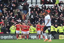 Nottingham Forest's Ben Osborn celebrates with his team mates after scoring the winning goal - Photo mandatory by-line: Dougie Allward/JMP - Mobile: 07966 386802 - 17/01/2015 - SPORT - Football - Derby - iPro Stadium - Derby County v Nottingham Forest - Sky Bet Championship
