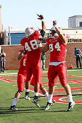 17 November 2012:  Jordan Neukirch celebrates a touchdown with Joe Farmer during an NCAA Missouri Valley Football Conference football game between the North Dakota State Bison and the Illinois State Redbirds at Hancock Stadium in Normal IL