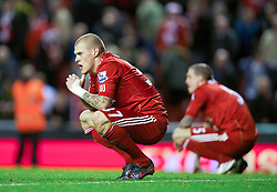26.11.2011, Anfield Stadion, Liverpool, ENG, PL, FC Liverpool vs Blackburn Rovers, 18. Spieltag, im Bild Liverpool's Martin Skrtel and Daniel Agger looks dejected as they draw 1-1 with Blackburn Rovers during the football match of English premier league, 18th round, between FC Liverpool and Blackburn Roversat Anfield Stadium, Liverpool, United Kingdom on 2011/12/26. EXPA Pictures © 2011, PhotoCredit: EXPA/ Propagandaphoto/ David Rawcliff..***** ATTENTION - OUT OF ENG, GBR, UK *****