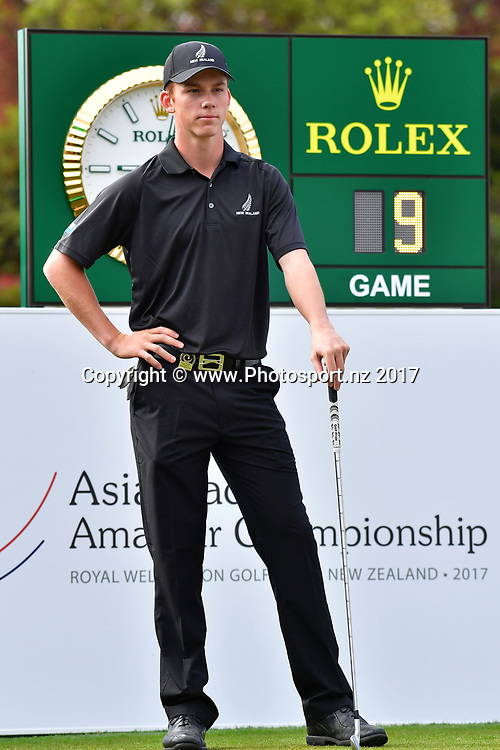 New Zealand's Daniel Hillier waits to tee off on the 1st during the final day of the Asia-Pacific Amateur golf Championship at the Royal Wellington Golf course in Upper Hutt on Sunday the 29 October 2017. Copyright Photo by Marty Melville / www.Photosport.nz