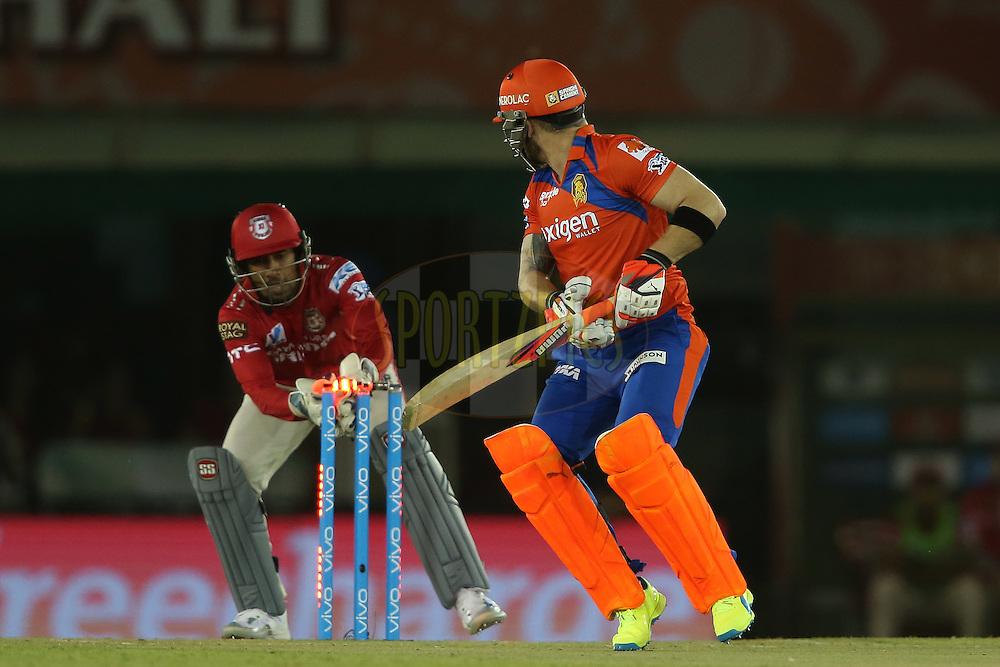Brendon McCullum of Gujarat Lions looks back as Wriddhiman Saha of Kings XI Punjab makes the stumping during match 3 of the Vivo Indian Premier League (IPL) 2016 between the Kings XI Punjab and the Gujarat Lions held at the IS Bindra Stadium, Mohali, India on the 11th April 2016<br /> <br /> Photo by Shaun Roy/ IPL/ SPORTZPICS
