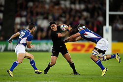 Malakai Fekitoa of New Zealand takes on the Namibia defence - Mandatory byline: Patrick Khachfe/JMP - 07966 386802 - 24/09/2015 - RUGBY UNION - The Stadium, Queen Elizabeth Olympic Park - London, England - New Zealand v Namibia - Rugby World Cup 2015 Pool C.