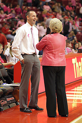 10 February 2013: Jim Flannery and Stephanie Glance  during an NCAA women's basketball game where the Creighton Bluejays lost to the Illinois Sate Redbirds 66-60 at Redbird Arena in Normal IL
