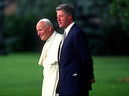 A 28. MG IMAGE OF:..President Bill Clinton and Pope John Paul II in Denver, Colorado for World Youth Day on August 11, 1993.  Photo by Dennis Brack