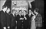 03/02/1964<br /> 02/03/1964<br /> 03 February 1964 <br /> Capitol Show Band and Pye Records reception for single 'Foolin' Time' at Country Club Portmarnock. Image shows Telefis Eireann personnel with Butch Moore.