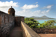 Fortaleza San Felipe, or El Morro de San Felipe, a defensive fortress built 1564-77 to protect Puerto Plata from pirates, in Puerto Plata province, Dominican Republic, in the Caribbean. In 1983 the Museo de la Fortaleza San Felipe was opened here, containing military artefacts from the fort's history. Picture by Manuel Cohen