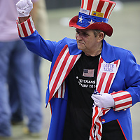 "Some supports dressed up like ""Uncle Sam"" and cheered with the crowd during Tuesday's Republican rally with President Donald Trump."