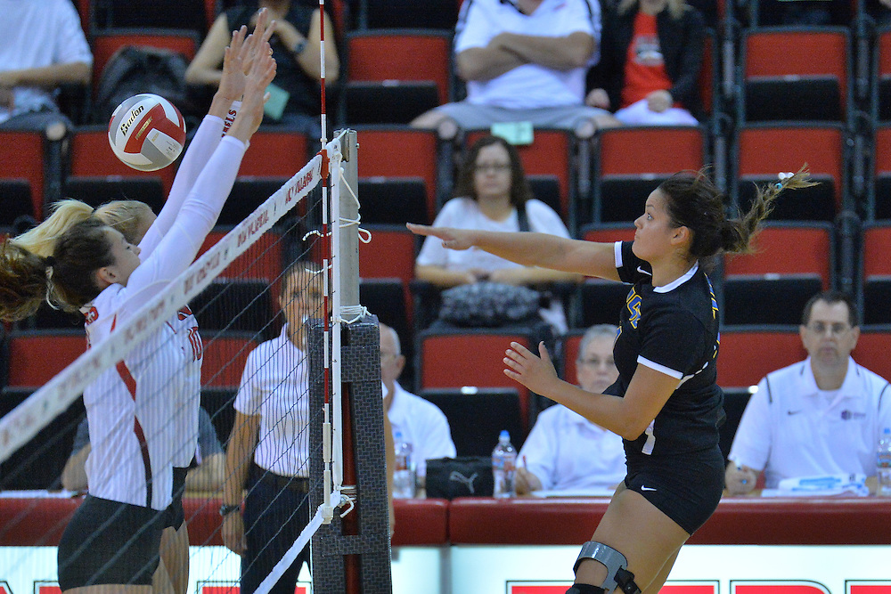 August 26, 2016; Las Vegas, Nev.; UC Santa Barbara outside hitter Chanel Hoffman (24) takes a swing during a match between the UNLV Lady Rebels and UC Santa Barbara Gauchos. UNLV defeated UCSB 3-0.
