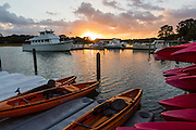 Sunrise over South Beach marina at Sea Pines Plantation on Hilton Head Island, SC