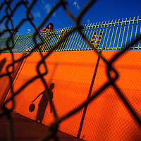 070213  Adron Gardner/Independent<br /> <br /> A shadow from the basketball courts of Ford Canyon Park casts against a wall in Gallup Tuesday.
