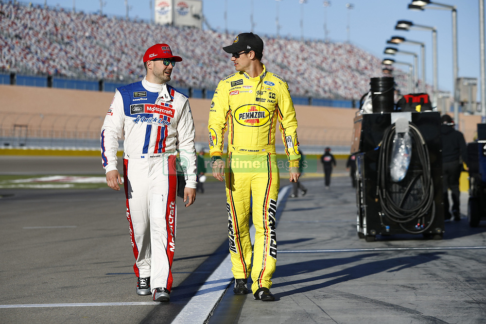 March 2, 2018 - Las Vegas, Nevada, United States of America - March 02, 2018 - Las Vegas, Nevada, USA: Joey Logano (22) and Paul Menard (21) hang out on pit road during qualifying for the Pennzoil 400 at Las Vegas Motor Speedway in Las Vegas, Nevada. (Credit Image: © Justin R. Noe Asp Inc/ASP via ZUMA Wire)