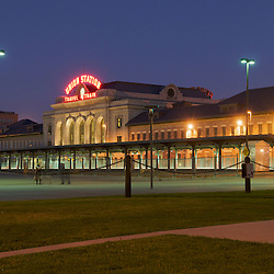 Union Station in downtown Denver, Colorado in the evening.