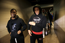 State champions Imhotep Panthers react as they arrive at the stadium to see the final NFC East division game on Saturday<br /> <br /> Football players of PIAA AAA State champions Imhotep Panthers and Pop Warner Midget Div. I National Champions NW Raiders got invited to see the December 26, 2015 NFC East Division game between Washington Redskins and Philadelphia Eagles at Lincoln Financial. 9photo by Bastiaan Slabbers)