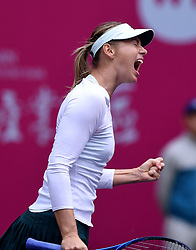 TIANJIN, Oct. 15, 2017  Maria Sharapova of Russia celebrates after scoring during the women's singles final match against Aryna Sabalenka of Belarus at the 2017 WTA Tianjin Open tennis tournament in north China's Tianjin Municipality, Oct. 15, 2017. Maria Sharapova won 2-0 to claim the title. (Credit Image: © Yue Yuewei/Xinhua via ZUMA Wire)