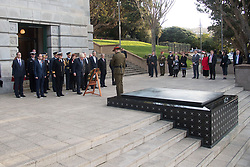 Britain's Foreign Secretary Boris Johnson lays a wreath at the National War Memorial during a two day visit to Wellington, New Zealand on July 24, 2017. Credit:SNPA / Marty Melville  AFP POOL