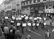 May Day Demonstration March.       (N72)..1981..01.05.1981..05.01.1981..1st May 1981..As part of International Workers Day the Irish Congress of Trades Unions organised a protest march in Dublin. The march to Dail Éireann was to highlight the inequities in wages,taxes etc carried by the working classes in Ireland. The May Day protest in Dublin was mirrored across Europe..An image of the 'Talbot' workers as the march in the May day parade. They were highlighting ongoing difficulties that they were having with their employers and government agencies.