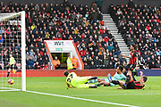 Goal - Pierre-Emerick Aubameyang (14) of Arsenal scores a goal to make the score 1-2 during the Premier League match between Bournemouth and Arsenal at the Vitality Stadium, Bournemouth, England on 25 November 2018.