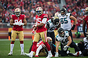 San Francisco 49ers strong safety Eric Reid (35) celebrates a defensive stop against the Jacksonville Jaguars at Levi's Stadium in Santa Clara, Calif., on December 24, 2017. (Stan Olszewski/Special to S.F. Examiner)