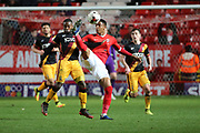 Charlton Athletic defender Ezri Konsa (15) tackling Bradford City midfielder Mark Marshall (7) during the EFL Sky Bet League 1 match between Charlton Athletic and Bradford City at The Valley, London, England on 14 March 2017. Photo by Matthew Redman.