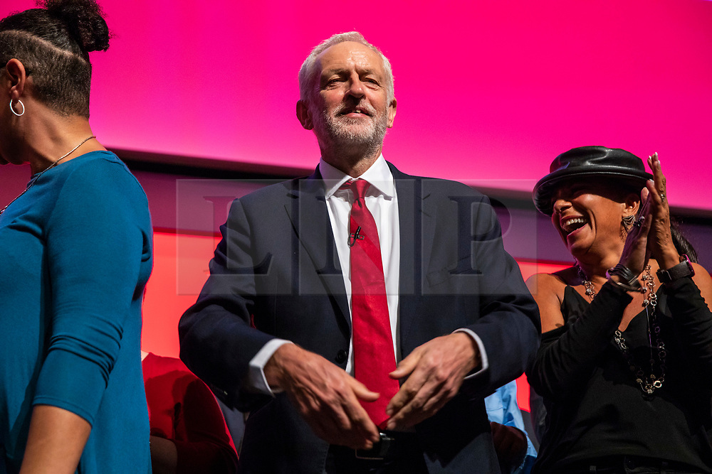 © Licensed to London News Pictures. 26/09/2018. Liverpool, UK. Labour Party Leader Jeremy Corbyn MP on stage after his speech at the end of the Labour Party Conference. Photo credit: Rob Pinney/LNP