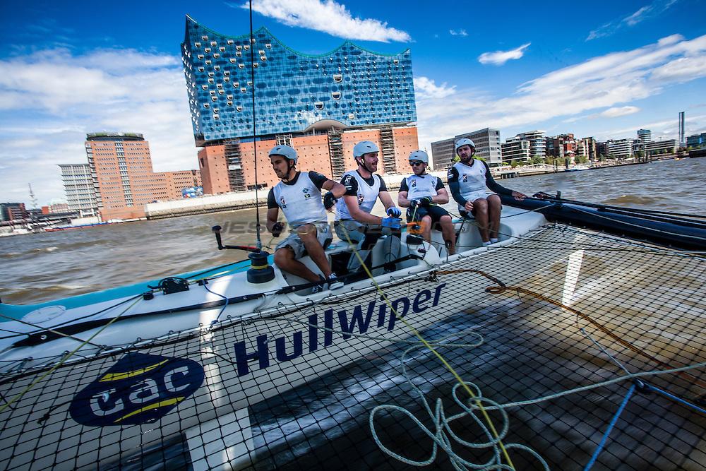 2015 Extreme Sailing Series - Act 5 - Hamburg.<br /> GAC Pindar skippered by Seve Jarvin (AUS) and crewed by Adam Minoprio (NZL), Marcus Ashley-Jones (AUS), James Wierzbowski (AUS) and James Corrie (AUS).<br /> Credit Jesus Renedo.