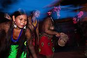 "Embera women performing a dance called ""the hammock"". Boca de Sabalo, Darien Province, Panama."