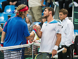 06.04.2014, Aegon Arena, Bratislava, SVK, ITF, Davis Cup, Slowakei vs Oesterreich, 2. Runde, Europa-Afrika-Zone I, im Bild v.l. Lukas Lacko (SVK), Gerald Melzer (AUT) und Kapitän Clemens Trimmel (AUT) // v.l. Lukas Lacko (SVK), Gerald Melzer (AUT) und Kapitän Clemens Trimmel (AUT) during the 2nd round of Europe Africa zone one of ITF Davis Cup between Slovakia and Austria at the Aegon Arena in Bratislava, Slovakia on 2014/04/06. EXPA Pictures © 2014, PhotoCredit: EXPA/ Michael Gruber
