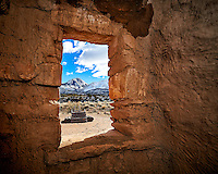 Window looking out at Sleeping Ute Mountain and wood ladder to the Kiva at Kelley's Place near Cortez, Colorado. Image taken with a Nikon D3 camera and 14-24 mm f/2.8 lens and interior fill flash (ISO 200, 16 mm, f/11, 1/250 sec).