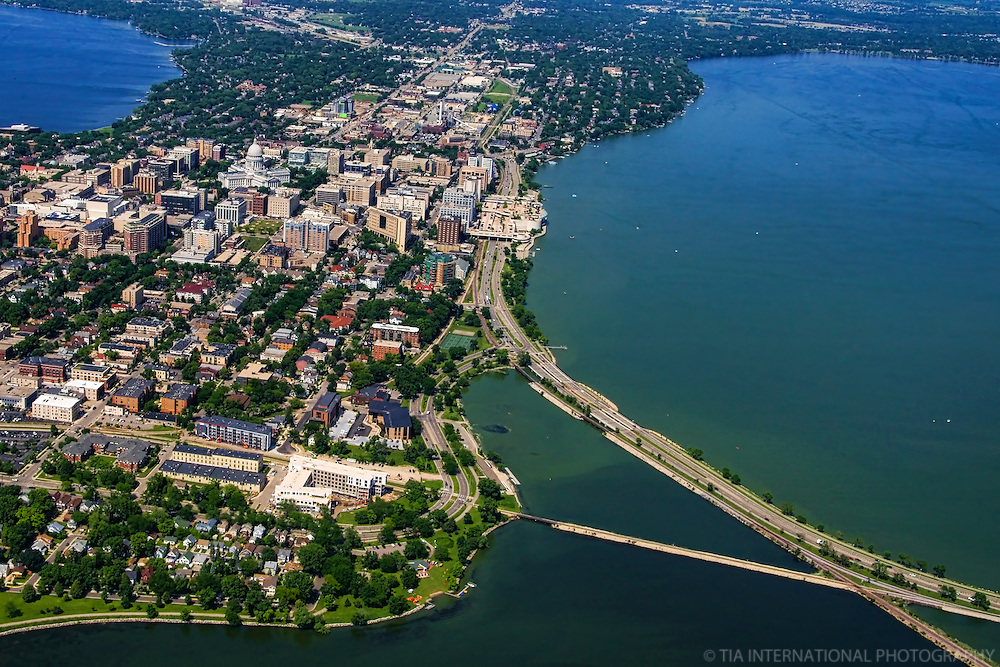 Madison Isthmus featuring John Nolen Drive on Lake Monona (foreground right)