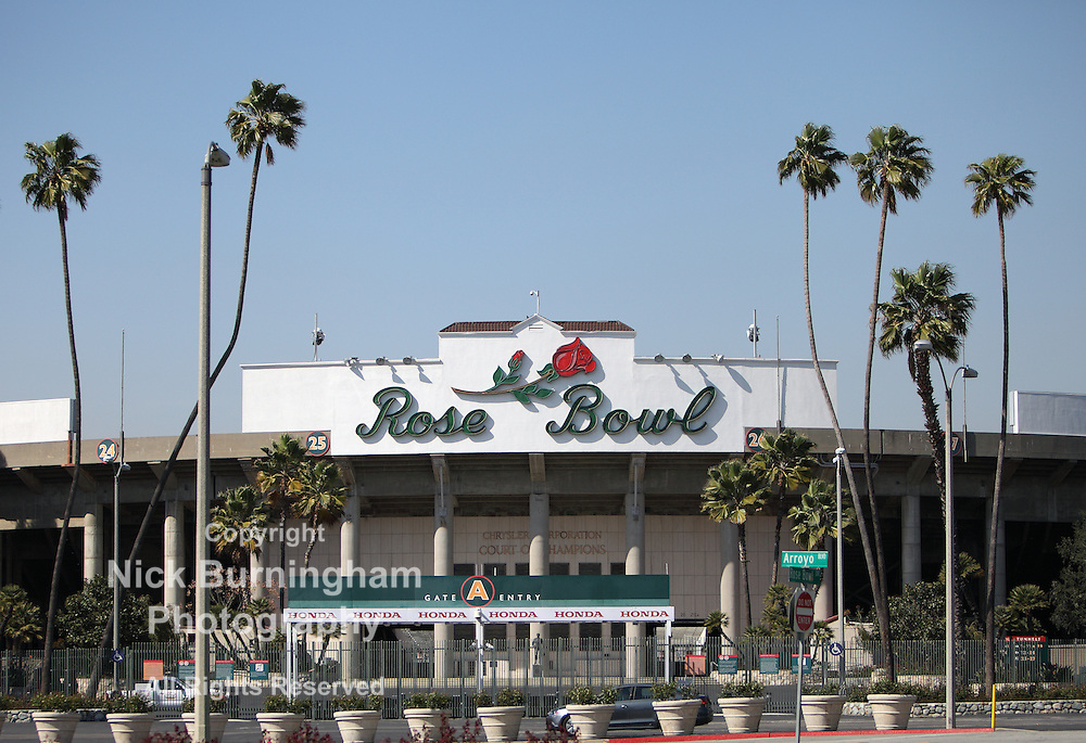 PASADENA, CA - MARCH 26, 2012 - A wide view of the Rose Bowl stadium on March 26, 2012.  The stadium is currently undergoing significant expansion to its press box and seating area.