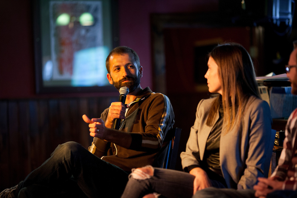 "FilmScene co-founder Andrew Sherburne speaks on a panel about the process of making art at the Mill restaurant in Iowa City, Iowa on Friday, November 6, 2015 during day one of the Witching Hour Festival. ""Your first audience is yourself,"" says Andrew, ""if you're making art that you don't like, then you risk making art that no one else will like either."""