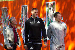 Goran Jagodnik and Samo Udrih of National basketball team of Slovenia walking at Laisves Al. in Kaunas city centre during FIBA Europe Eurobasket Lithuania 2011, on September 14, 2011, in Kaunas, Lithuania.  (Photo by Vid Ponikvar / Sportida)