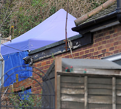 © London News Pictures. 05/01/2016. A police tent in the back garden of the home of former Eastenders actress Sian Blake in Erith, Kent, which has been turned into a crime scene today (05/01/2016). Sian Blake and her two children have been missing for more than three weeks. Her partner has been described as a 'high-risk missing person'. Photo credit: Grant Falvey/LNP